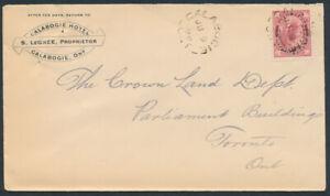 1898-Calabogie-Hotel-Cover-Renfrew-to-Toronto-3c-Victoria-Leaf-Issue