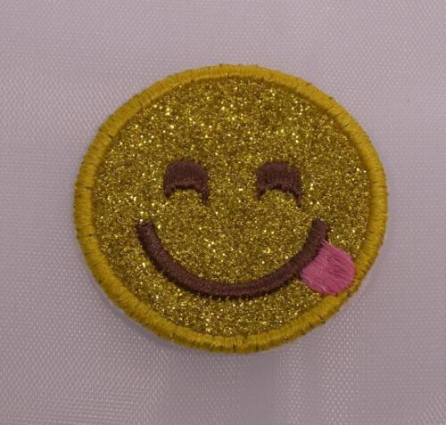Bestickt Glitzer-Glanz Hell Gold Zunge aus Joking Emoji Applikation Flicken