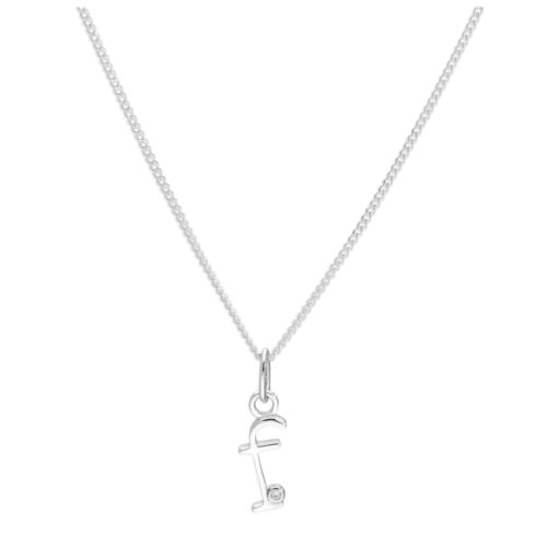 Sterling Silver 0.4pts Diamond Letter F Necklace 14-32 Inches