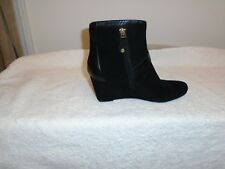 Isaac Mizrahi Black Suede /& Faux Sherpa Trim Karen Tall Wedge Boots NEW