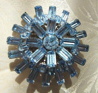 Gorgeous Sparkling Vintage Blue Rhinestone Brooch