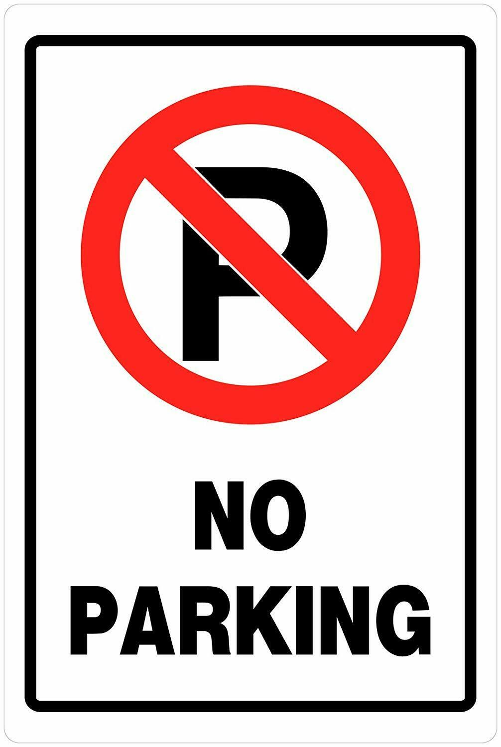 - No Parking Print Black White And Red Plastic Square Sign- 1 Pack