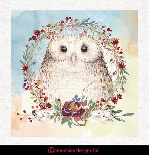 Panel De Tela acolchar Craft Impresión De La Acuarela Con Dibujo de Búho con flores