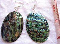Earrings Artisan Large Teal Blue Green Paua Abalone Large Oval 925 Silver Hooks