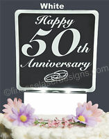 50th Anniversary Personalized Lighted Cake Topper Acrylic Led Light Up