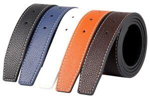 Mens-Designer-Reversible-38mm-Luxury-Stitched-Leather-Belt-Strap-No-Buckle-Q02