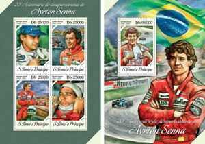 Ayrton Senna Auto Racing Formula 1 Sports Sao Tome And Principe Mnh Stamp Set Adopter Une Technologie De Pointe