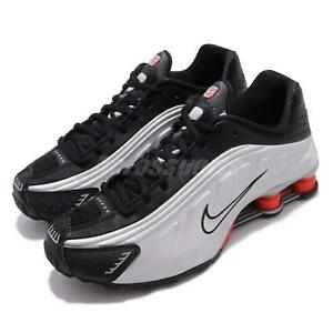 official photos efc7d 45f32 Image is loading Nike-Shox-R4-Black-Metallic-Silver-Max-Orange-
