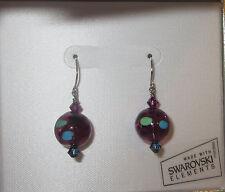 Purple Blue Earrings Swarovski Elements Glass Sterling Silver Pierced New Green
