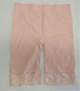 Rhonda Shear Peach Coral Ahh Panty Lace Overlay Smoothing Brief Panties New