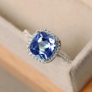 Elegant-Argent-925-Anneaux-Bijoux-saphir-bleu-femmes-bague-de-mariage-Taille-6-10