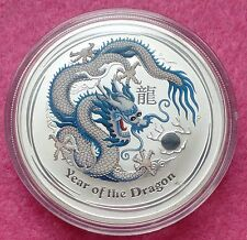 2012 AUSTRALIA LUNAR YEAR OF THE DRAGON - WHITE 1oz SILVER $1 BU COIN