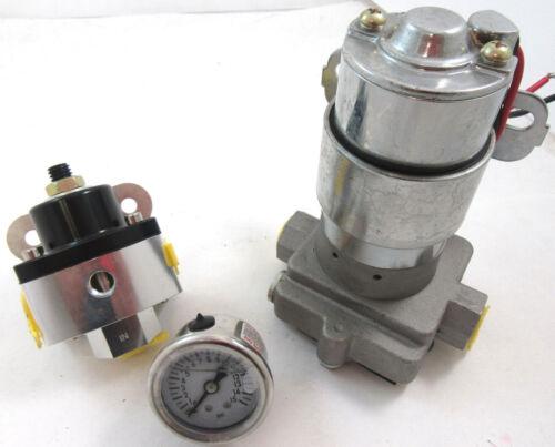 High Flow Performance Electric Fuel Pump Kit 115GPH W// Billet Regulator /& Gauge