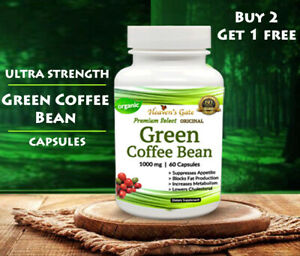 GREEN COFFEE BEAN EXTRACT WEIGHT LOSS 1000 mg ANTIOXIDANT DIET DETOX 60 CAPSULES