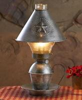 Metal Antique Finish Vintage Punched Farm House Hurricane Table Lamp