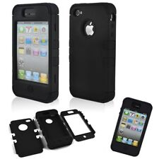for iPhone 4 / 4s Black/ White Rugged Rubber Matte Hard Case Screen Protector