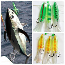 1 Pack 3 Giant Squid Cuttlefish Rigs Soft Baits Fishing Lures 4/0 Hook Sabiki