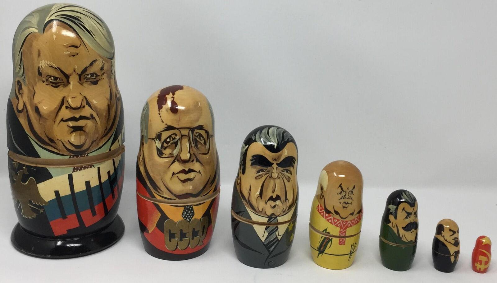 VTG Russian Set of 7 Matryoshka Nesting Dolls USSR Yeltsin Stalin Khrushchev