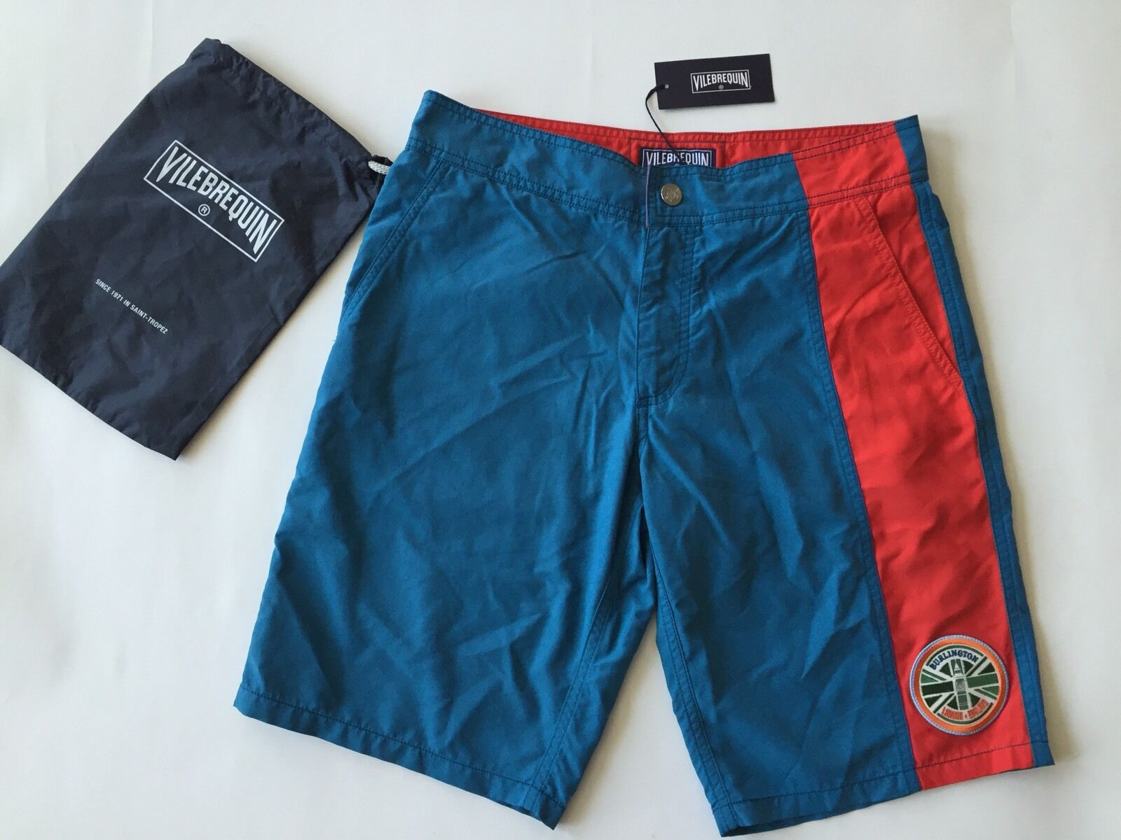 New w Tags & Bag Authentic Vilebrequin Melta bluee & Red Swim Trunks Men Size M