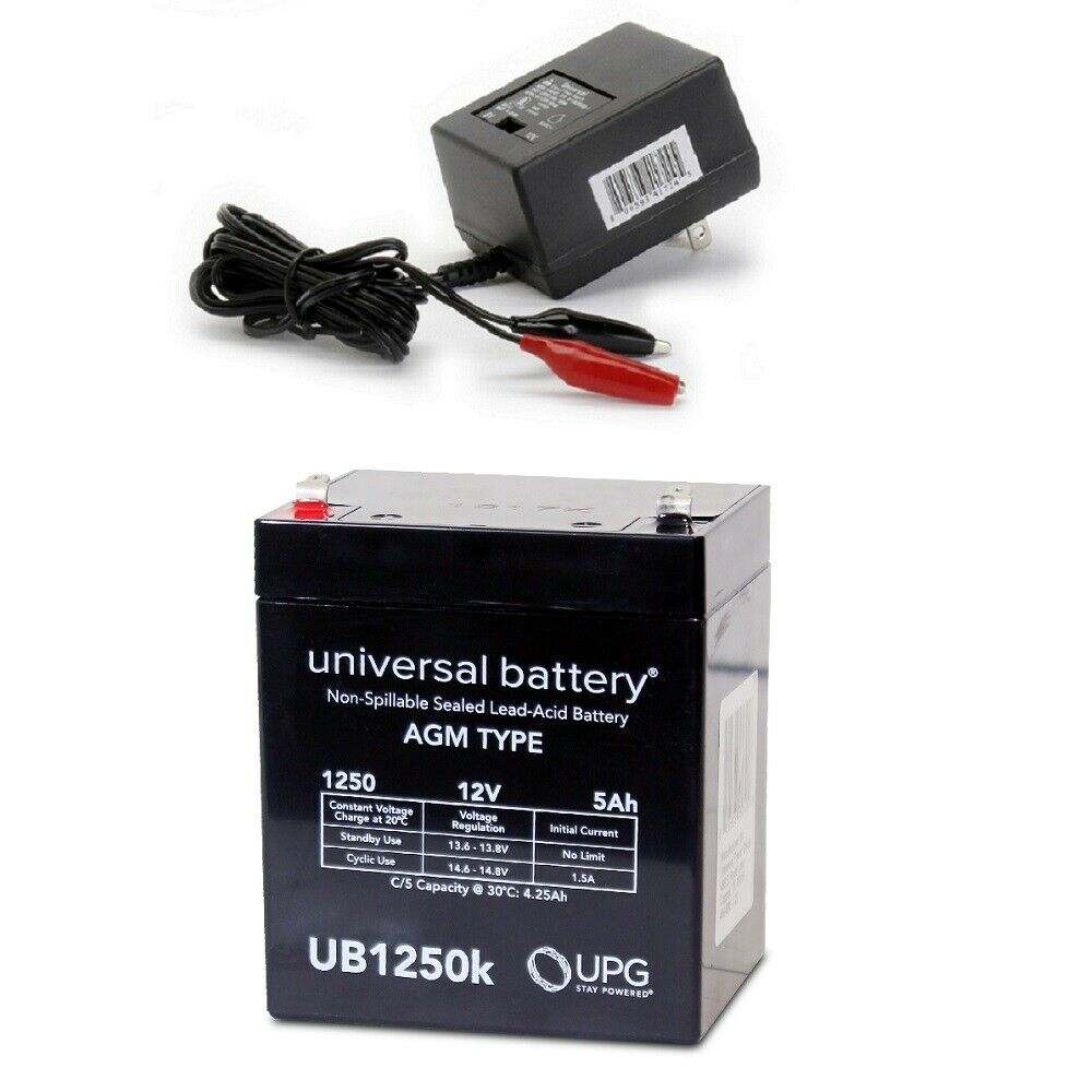 NEW UPG UB1250 12V 5AH Replacement Battery Securitron PB3 & Charger