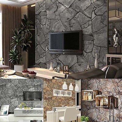 10M Rustic Stone Slate Sand Rock Textured DIY Panel 3D Wall Effect Wallpaper