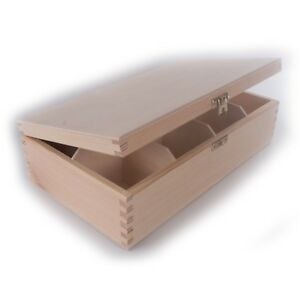 Wooden Storage Box With Lid Clasp 8 Sections Compartments