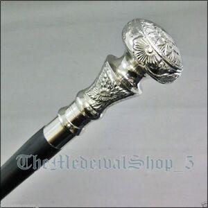 Vintage-Antique-Walking-Cane-Wooden-Walking-Stick-Silver-Brass-Handle-Knob-Gift