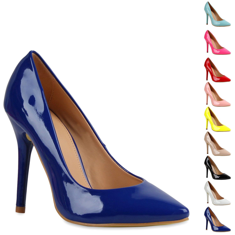 Spitze Damen Pumps Stiletto Absatz Lack Schuhe Abendschuhe 79377 New Look