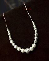 Elegant 18k White Gold Plated Bridal Wedding White Pearl Necklace N296