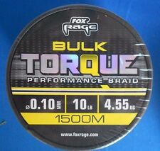FOX RAGE BULK TORQUE PERFORMANCE BRAID 10lb 4.55kg 0.1mm 1500m bulk spool NBL046