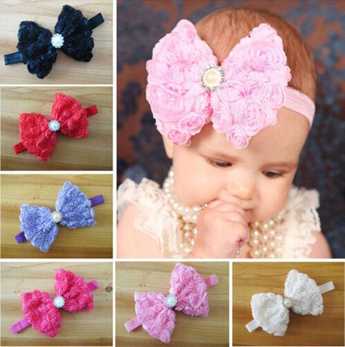 Baby Girl Kid Toddler Headband Rose Bow Lace Hairband Flower Headdress Hot