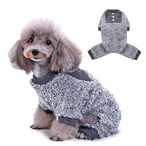 886193ca0f22 Grey Warm Fleece Thermal Boy Dog Clothes for Pet Dog Pajamas PJS ...