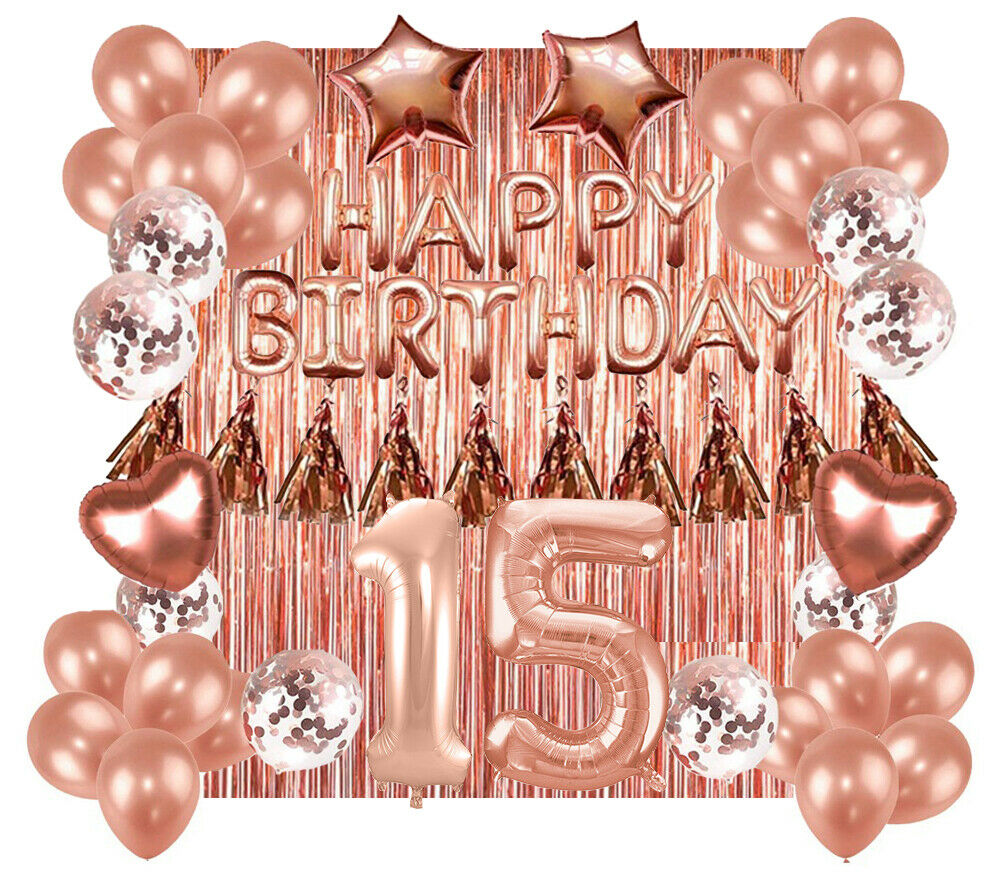 15th Rose Gold Happy Birthday Banner Confetti Balloon Party Decoration Supplies