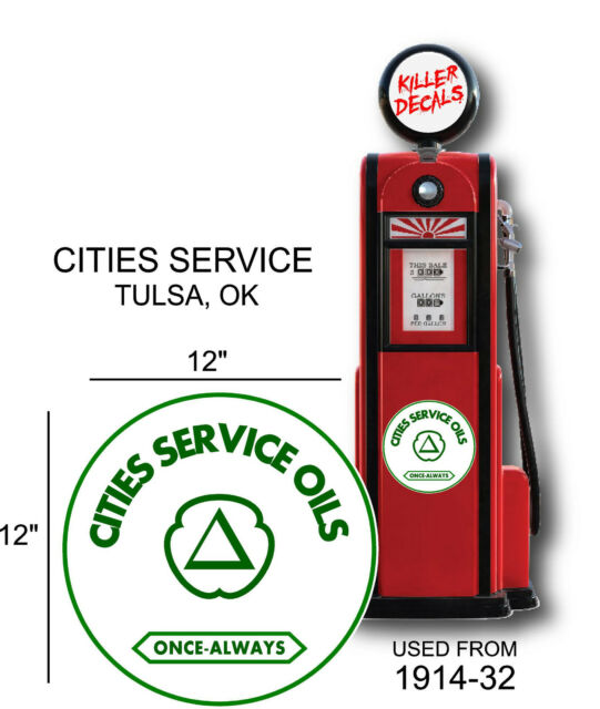 """12/"""" CITIES SERVICES GASOLINE GAS PUMP OIL TANK DECAL"""