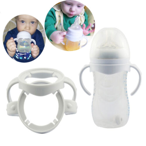 White Baby Bottle Infant Grip Handle Avent Natural Wide Mouth Feeding Safe 2Pcs