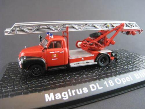 Magirus dl 18 Opel Blitz escalera carro de bomberos DeAgostini 1:72 OVP nuevo