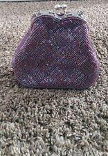BIJOUX TERNER ~ Purple Beaded Satin Evening Bag  Braided Strap Purse ~ New prom