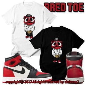 c2780c19ac7ae1 CUSTOM T SHIRT Air Jordan 1 Retro High OG Bred Toe matching TEE JD 1 ...