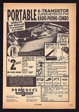 1960 PEACOCKS JEWELERS AD~TRANSISTOR RADIO PHONOGRAPH COMBO~Record Player