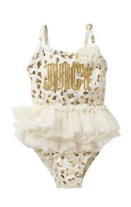 Juicy Couture Swimsuit 1pc White & Gold Animal Print Tulle Girls 12m Last Style a0110