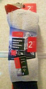 2-Pair-TRU-FIT-Black-amp-Gray-Premium-Cotton-Thermal-Socks-Men-039-s-Size-10-15-New