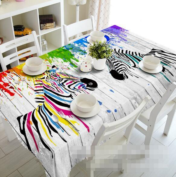 3D Zebras 65 Tablecloth Table Cover Cloth Birthday Party Event AJ WALLPAPER AU