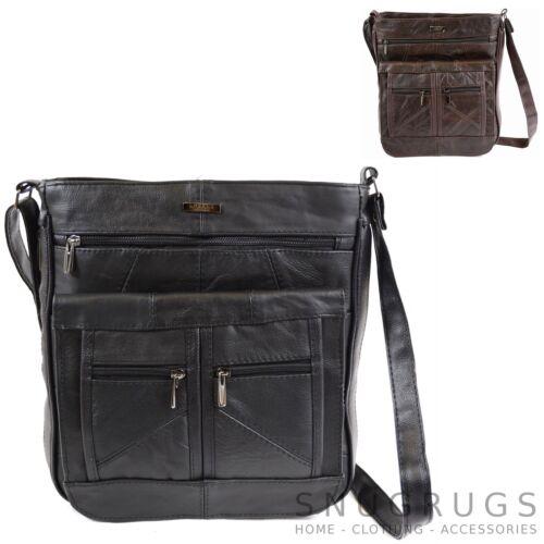 Mens Large Leather Shoulder Messenger Cross Body Bag 2 Colours Ladies