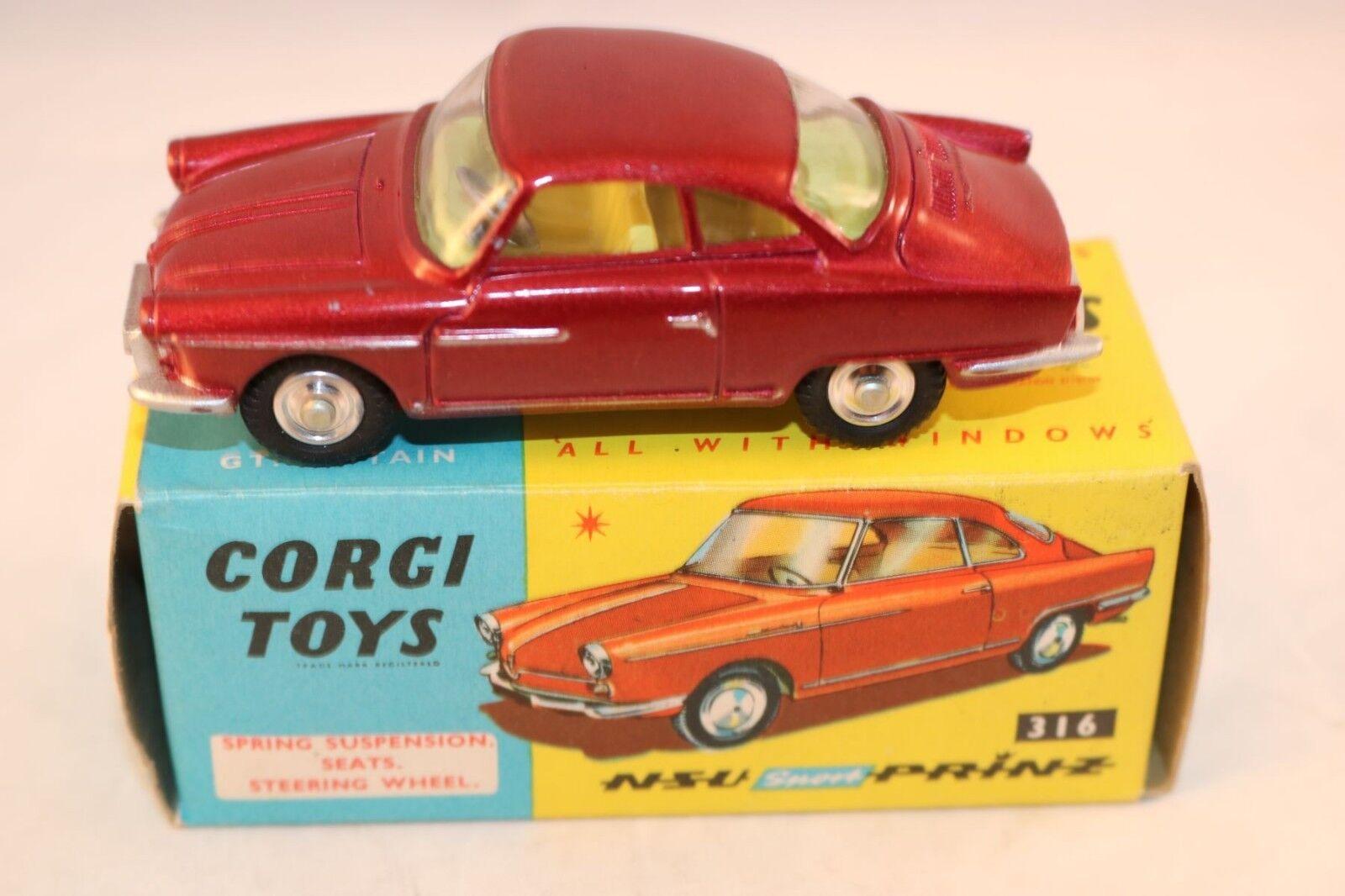 Corgi Toys 316 N.S.U. Sport - Prinz Metallic rouge SCARCE colour VNMIB Superb