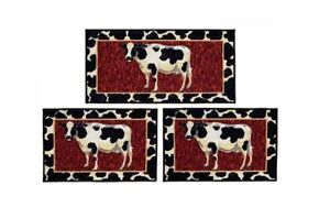 Incroyable Image Is Loading Cow 3 Piece Rug Set Kitchen Mat Non