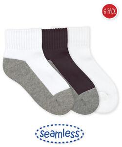 Jefferies Boy/'s 6-Pairs Seamless Sport Quarter Black//Grey Half Cushion Socks