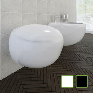 vidaXL-Cuvette-WC-Suspendue-Noir-Abattant-Sanitaire-Multicolore-Multi-Modele
