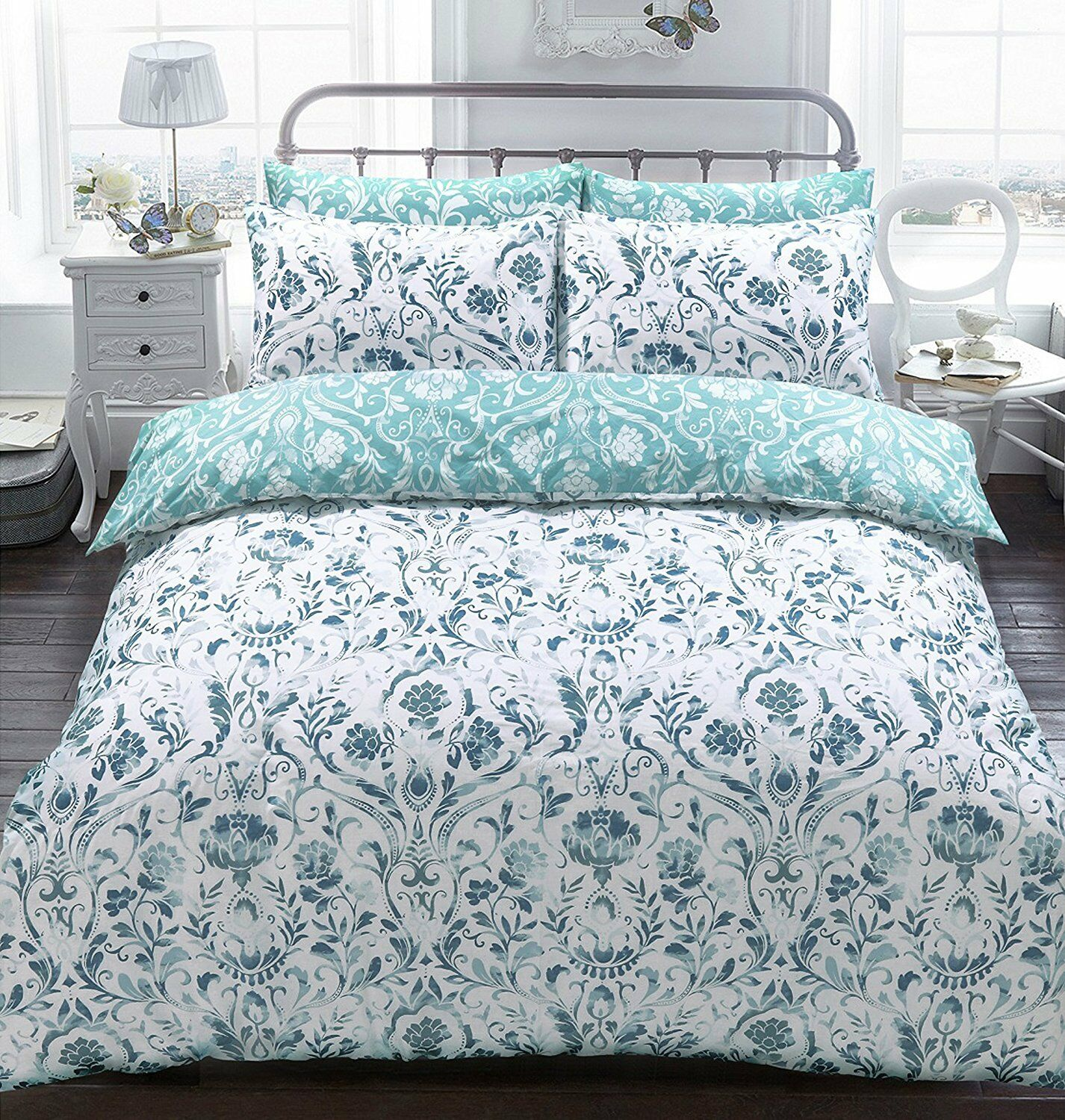 Luxury Damask Teal Duvet Quilt Cover Bedding Set Pillowcases Fit Double Size Bed