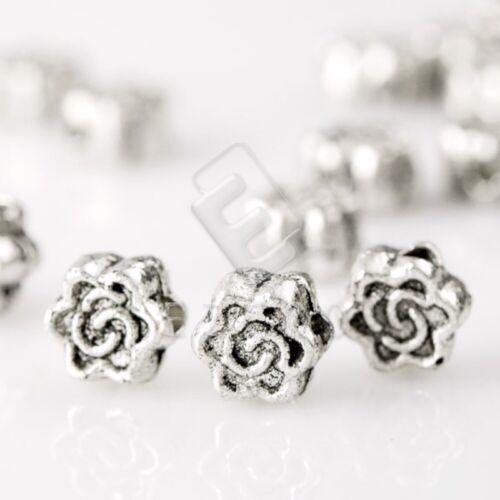 300pcs Tibetan Silver Loose Spacer Metal Charm Beads Jewelry Findings 5x5x3mm YB