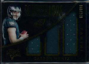 2016-Black-Gold-Mother-Lode-Carson-Wentz-RC-Triple-Jersey-Card-249-Eagles